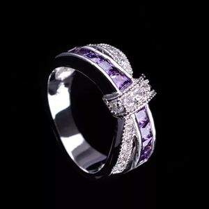 Jewelry - Sterling Silver Amethyst Criss Cross Bow Ring